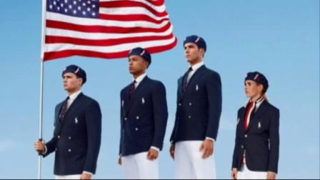 This product image released by Ralph Lauren shows U.S. Olympic athletes, from left, swimmer Ryan Lochte, decathlete Bryan Clay, rower Giuseppe Lanzone and soccer player Heather Mitts, modeling the official Team USA opening ceremony parade uniform.