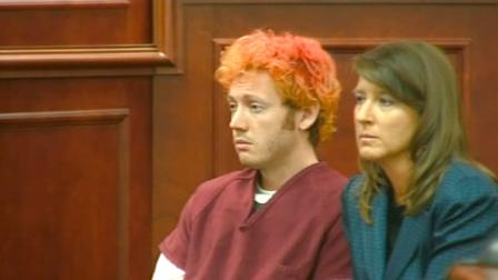 James Holmes, the accused gunman in the Aurora theater shooting, is seen in a Colorado courtroom on Monday, July 23, 2012.