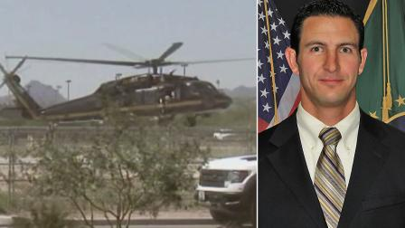 The FBI is continuing to search for evidence in the deadly shooting of a Border Patrol Agent near Naco, Ariz. by way of ATVs, horseback and helicopters, as seen on the left. Agent Nicholas Ivie, right, was shot and killed on Tuesday, Oct. 2, 2012.