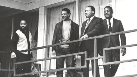 Martin Luther King Jr., second right, and SCLC aides Hosea Williams, Jesse Jackson Jr., from left, and Ralph Abernathy appear at the Lorraine Motel in Memphis in this April 3, 1968 file photo.