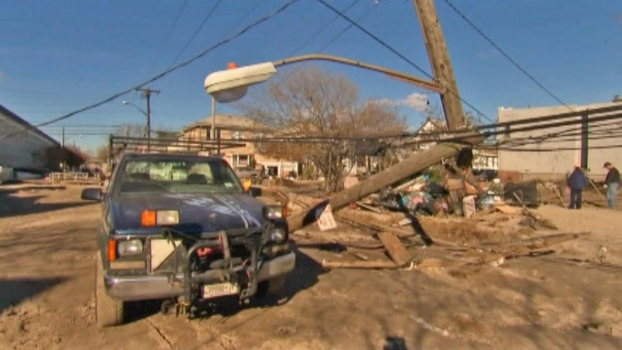 A light pole is seen after it fell over during Superstorm Sandy in this undated photo.