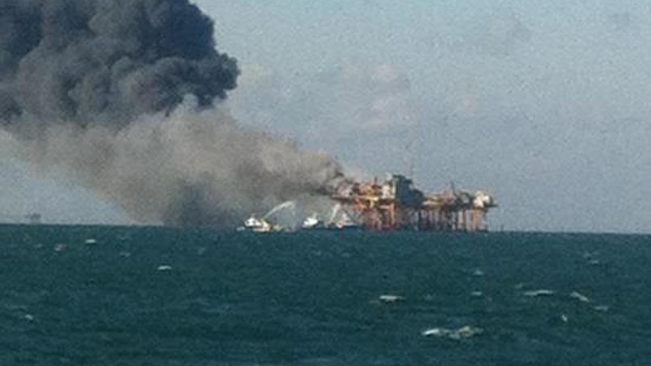 An oil rig exploded off the coast of Louisiana on Friday, Nov. 16, 2012.