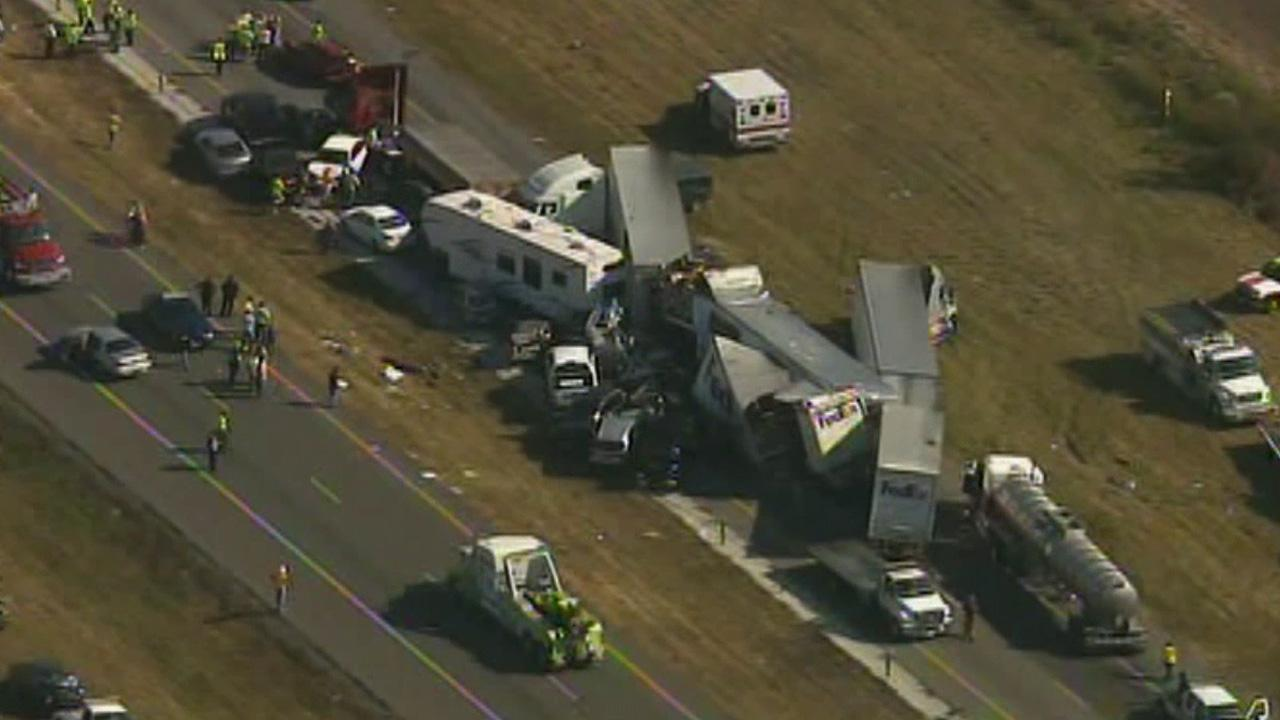 A pile-up involving an estimated 100 vehicles shut down Interstate 10 in Southeast Texas Thursday, Nov. 22, 2012.