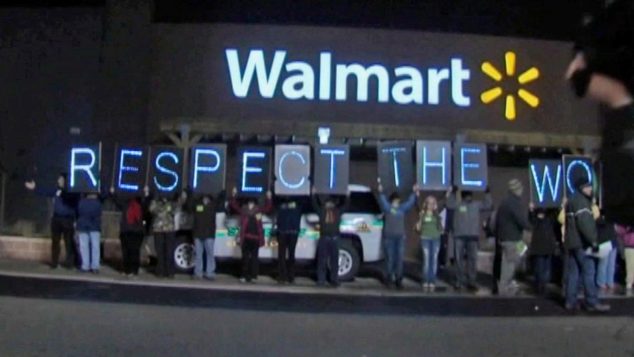 Wal-Mart employees protest outside of a store in this November photo.
