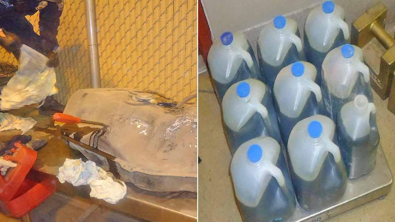 Nine containers of liquid meth holding a total of 8.5 gallons (66 pounds) of the drug were hidden in a modified fuel tank.