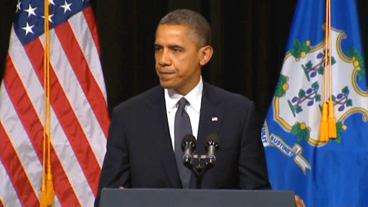 President Barack Obama speaks at a vigil on Sunday, Dec. 16, 2012, remembering the lives lost at a shooting at an elementary school in Newton, Conn.
