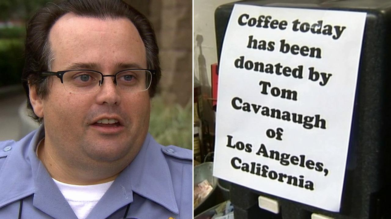 A sign at the Newton General Store indicates the coffee donation made by Tom Cavanaugh of Los Angeles on Monday, Dec. 17, 2012.