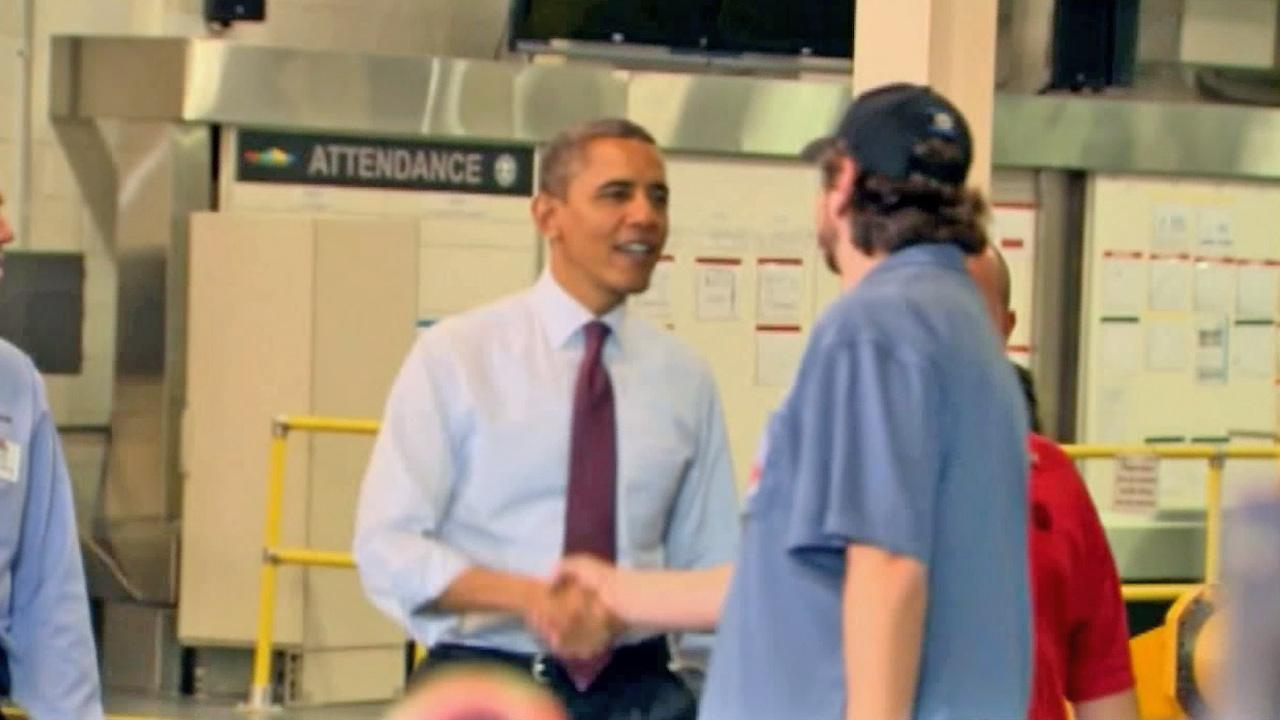 President Obama is seen greeting a man in this undated file photo.