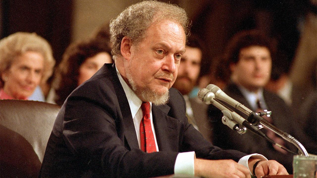 In this Sept. 16, 1987 file photo, U.S. Supreme Court nominee Robert H. Bork testifies before the Senate Judiciary Committee during his confirmation hearings on Capitol Hill.Charles Tasnadi