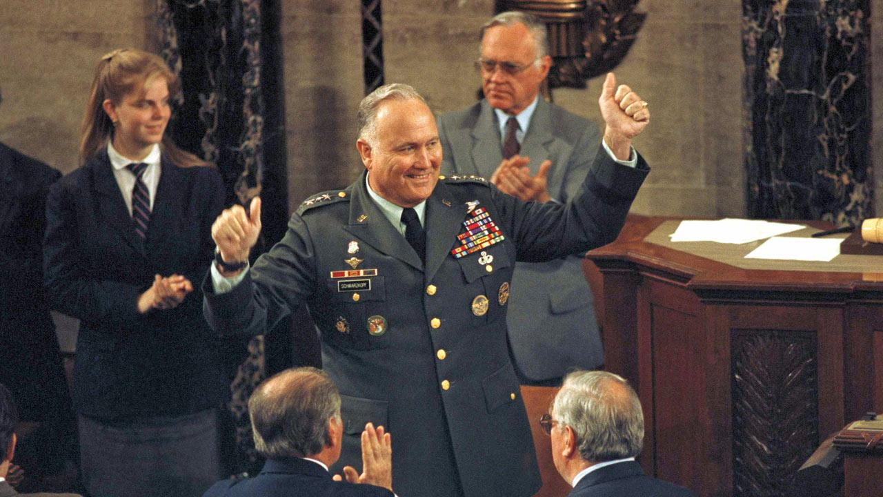 Gen. Norman Schwarzkopf, commander of Operation Desert Storm, gestures during a ceremony in his honor on Capitol Hill in Washington, Wedesday, May 8, 1991. Schwarzkopf died on Thursday, Dec. 27, 2012, in Tampa, Fla., at the age of 78. <span class=meta>(Greg Gibson)</span>