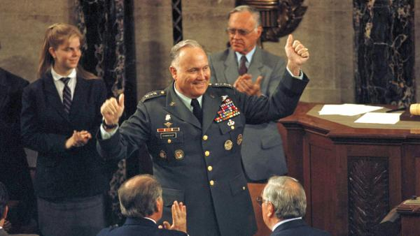 Gen. Norman Schwarzkopf, commander of Operation Desert Storm, gestures during a ceremony in his honor on Capitol Hill in Washington, Wedesday, May 8, 1991. Schwarzkopf died on Thursday, Dec. 27, 2012, in Tampa, Fla., at the age of 78.