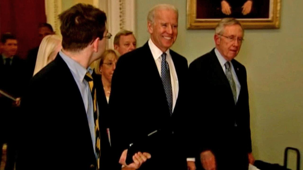 Vice President Joe Biden is shown smiling in this photo taken early Tuesday, Jan. 1, 2013.