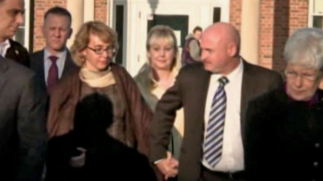 Former Arizona Rep. Gabrielle Giffords visited Newtown, Conn., with her astronaut husband Mark Kelly on Friday, Jan. 4, 2013.