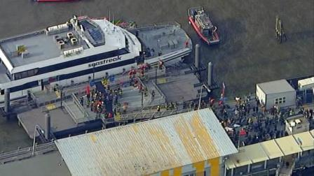 A ferry carrying dozens of people made a hard landing at a dock in lower Manhattan on Wednesday, Jan. 9, 2013.