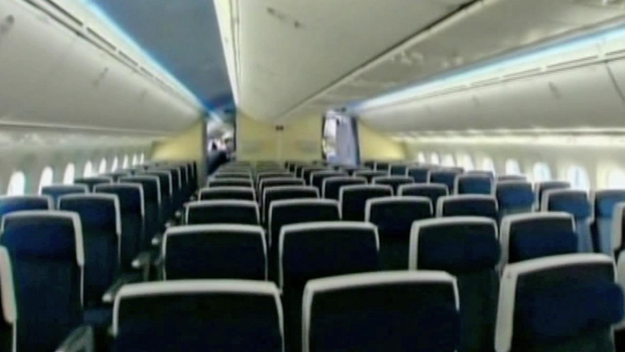 The interior of a Boeing 787 Dreamliner is shown in this undated file photo.