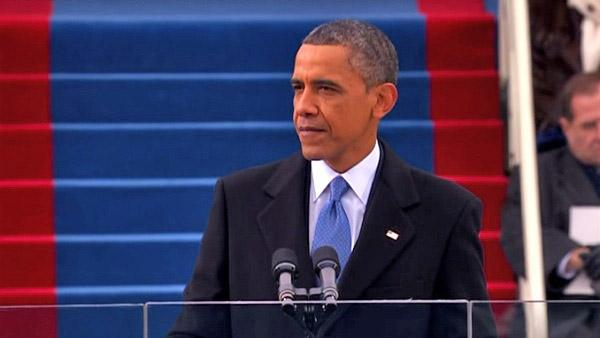 President Barack Obama delivers the inaugural address in front of a crowds of hundreds of thousands on Monday, Jan. 21, 2013.