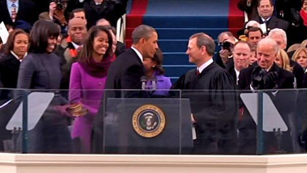 President Barack Obama shakes hands with Chief Justice John Roberts at the ceremonial swearing-in on the West Front of the U.S. Capitol during the 57th Presidential Inauguration in Washington, Monday, Jan. 21, 2013.