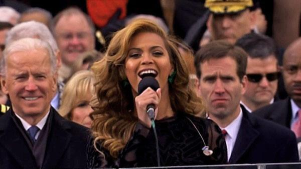 Beyonce sings the national anthem at the conclusion of President Barack Obama's swearing-in ceremony at the Capitol on Monday, Jan. 21, 2013.