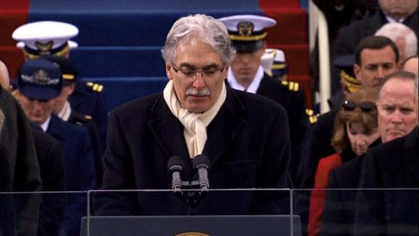 Reverend Luis Leon gives the benediction at the conclusion of the ceremonial swearing-in ceremony during the 57th Presidential Inauguration on the West Front of the Capitol in Washington, Monday, Jan. 21, 2013.