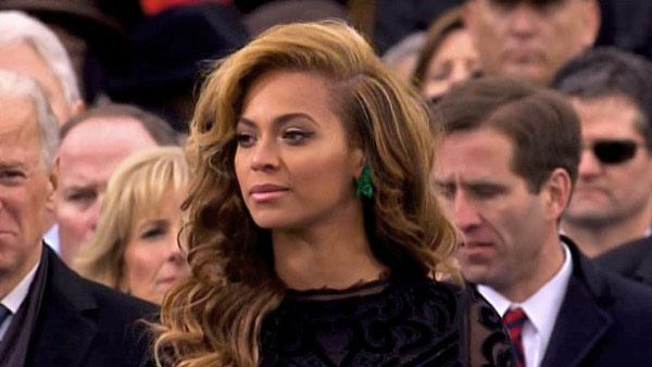 Beyonce gets ready to sing the national anthem at President Barack Obama's swearing-in ceremony at the Capitol on Monday, Jan. 21, 2013.