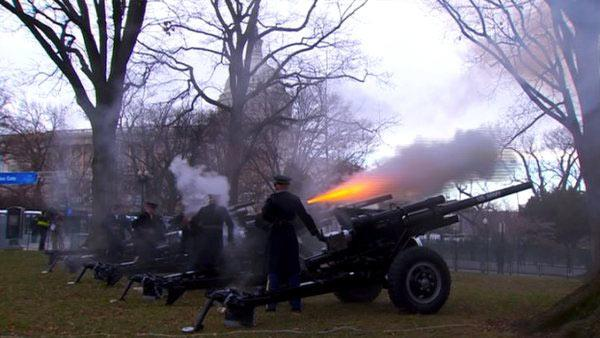 Cannons go off at President Barack Obama's swearing-in ceremony at the Capitol on Monday, Jan. 21, 2013.