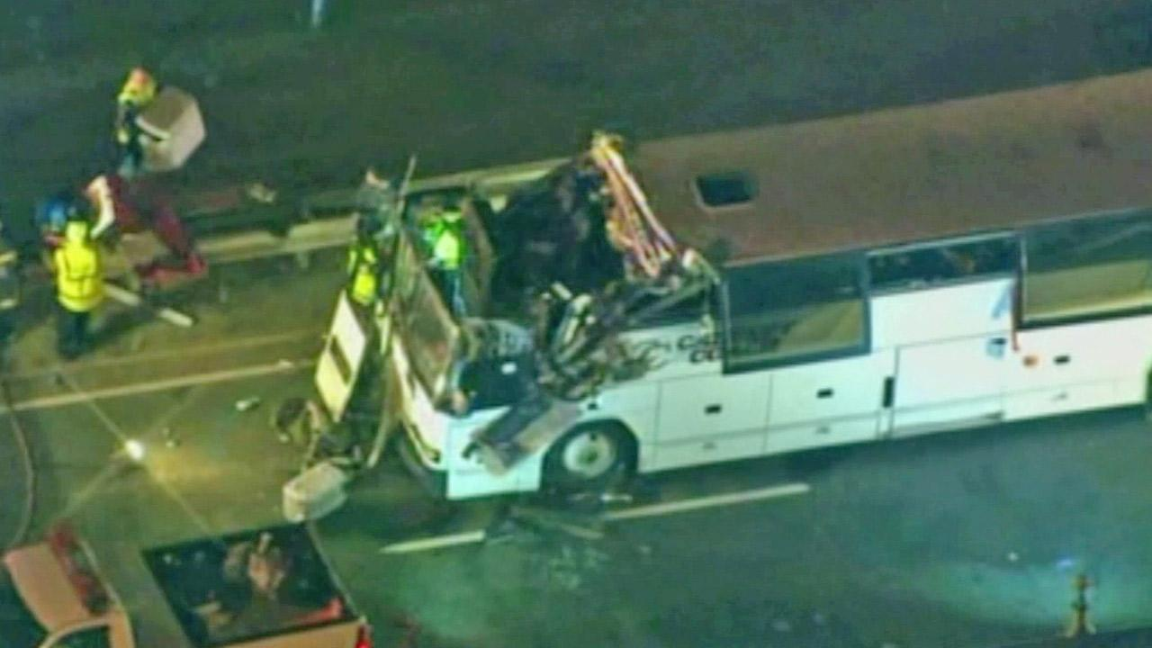 A charter bus smashed into an underpass in Boston on Saturday, Feb. 2, 2013, injuring dozens on board.