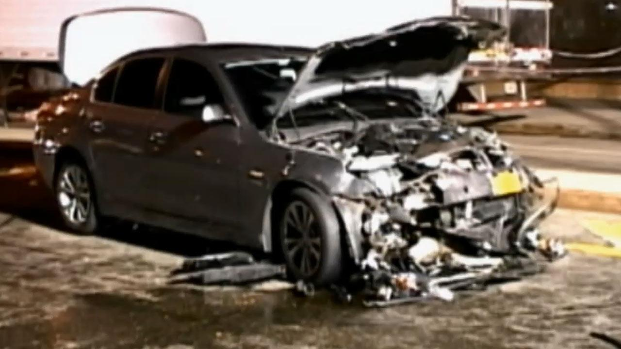 Police are searching for the driver of a BMW who crashed into a car killing an expectant couple in the Williamsburg neighborhood of Brooklyn, New York, on Sunday, March 3, 2013.