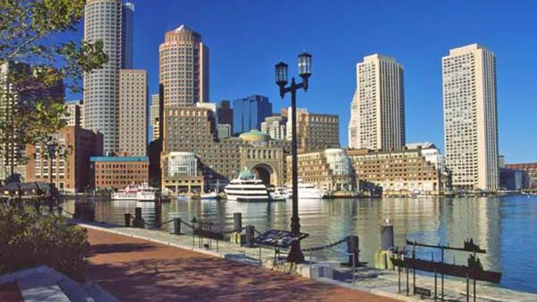 Massachusetts ranked No. 10 on the 2013 Gallup Well-Being Index, which ranks the happiest states in America. The index considers factors like health and work satisfaction. Massachusetts' Well-Being index score was 68.1. Boston is shown in this file image.