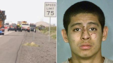 (Left) The scene of a car crash involving a Los Angeles-area family is shown in this photo taken Saturday, March 30, 2013. (Right) Jean Soriano, 18, appears in a booking photo.