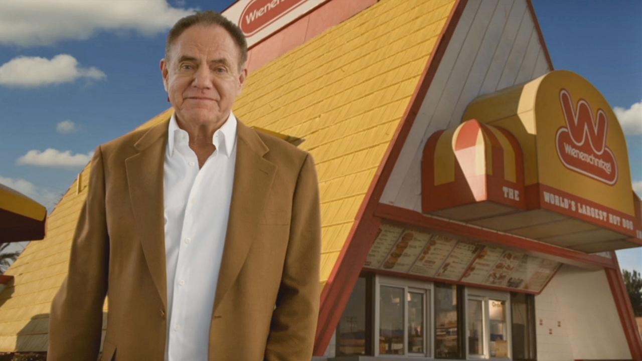 Wienerschnitzel founder John Galardi, seen in a recent commercial for the fast food chain, died of pancreatic cancer on Saturday, April, 13, 2013.