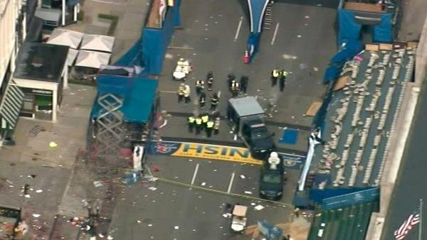 Two bombs exploded near the finish of the Boston Marathon on Monday, killing three pe
