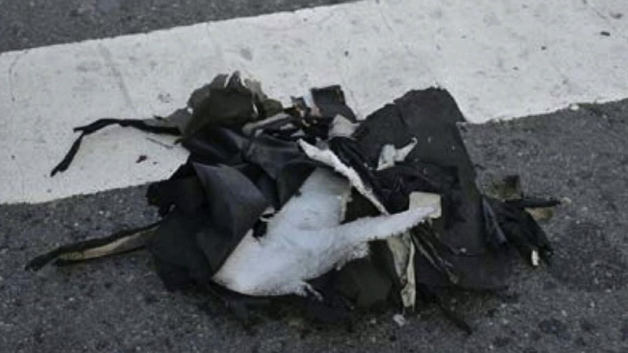 A shredded backpack from the scene of the Boston Marathon explosions is seen.