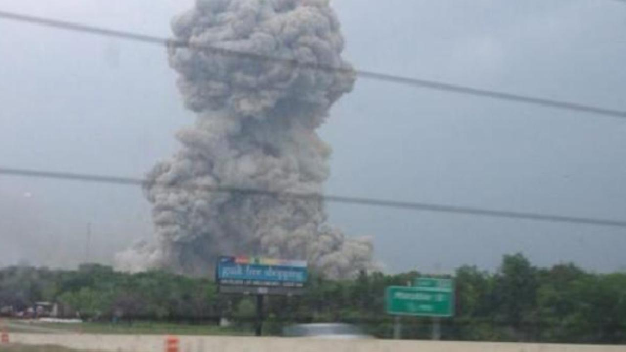 Smoke is seen from a fire and explosion at a fertilizer plant in West, Texas on Wednesday, April 17, 2013. <span class=meta>(DFW Scanner)</span>