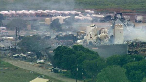 A fertilizer plant that exploded still smolders in West, Texas, Thursday, April 18, 2013. A massive explosion at the plant killed as many as 15 people and injured more than 160,