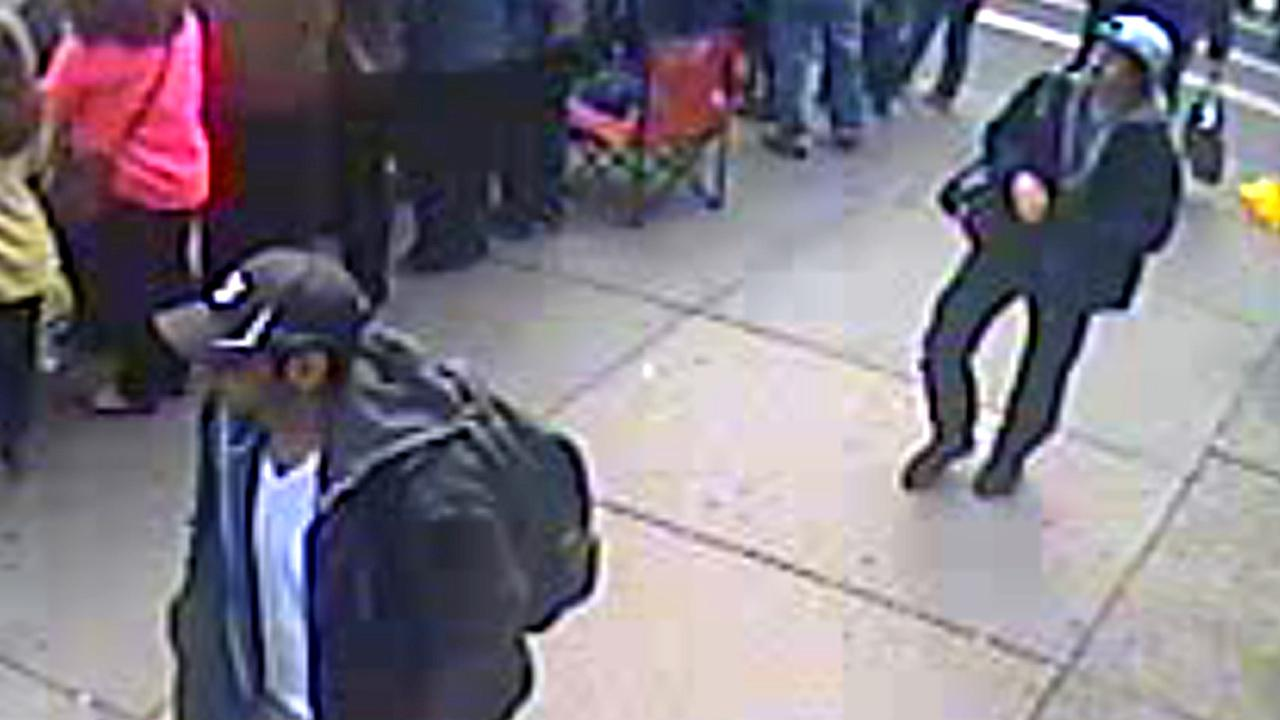 This image from surveillance video released Thursday, April 18, 2013 by the FBI shows two suspects sought in connection with the Boston Marathon bombings.