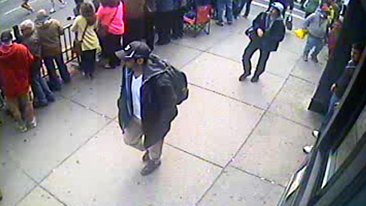 This image from surveillance video released Thursday, April 18, 2013 by the FBI shows two suspects sought in connection with the Boston Marathon bombings that killed three people and injured more than 170 others.FBI