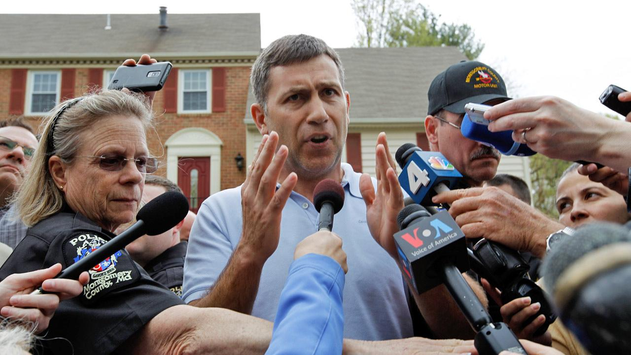 Ruslan Tsarni, the uncle of the Boston Marathon bombing suspect, speaks with the media outside his home in Montgomery Village in Md. Friday, April, 19, 2013.Jose Luis Magana