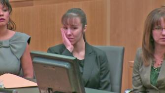 Jodi Arias reacts as a jury announces a mistrial in her sentencing Thursday, May 23, 2013.