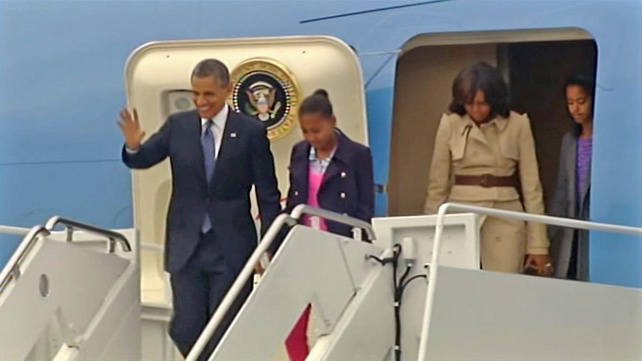 President Obama and his family arrive in Northern Ireland for the G-8 summit Monday, June 17, 2013.