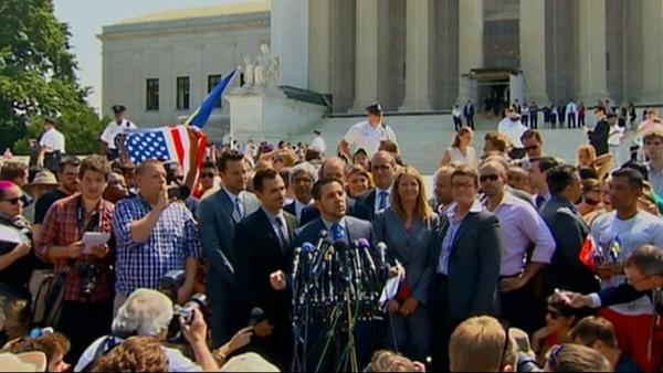 Plaintiffs in the California Proposition 8 case speak outside the Supreme Court on Wednesday, June 26, 2013.