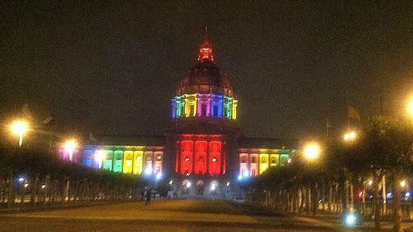 San Francisco City Hall is shown lit up on Tuesday, June 25, 2013.