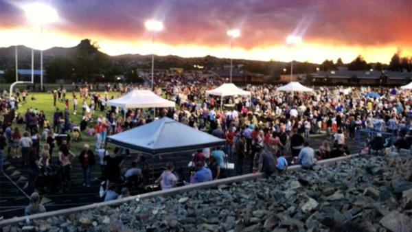 A vigil was held Tuesday, July 2, 2013, on the Prescott High School football field to honor the 19 firefighters killed battling a wildfire.