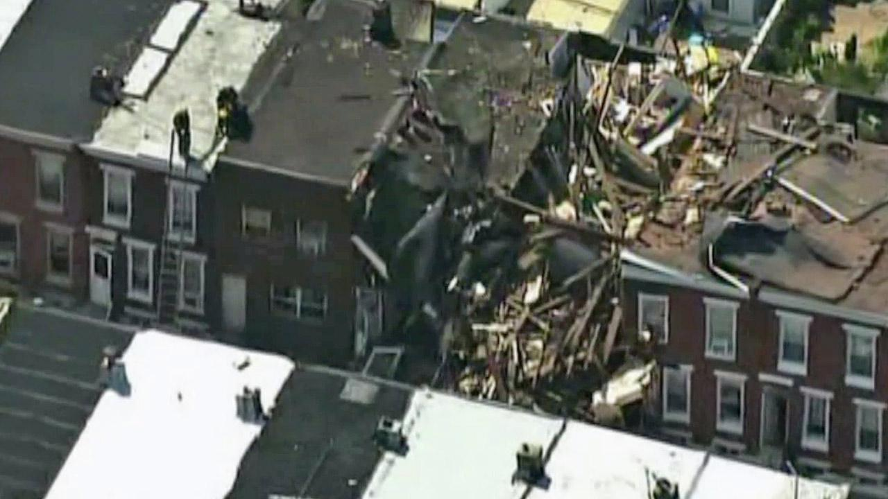 A home in Philadelphia collapsed following a gas explosion on Monday, July 29, 2013.