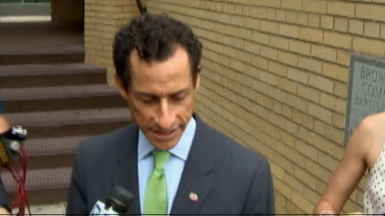 Anthony Weiner, New York mayoral candidate, speaks to reporters on July 28, 2013, in New York.