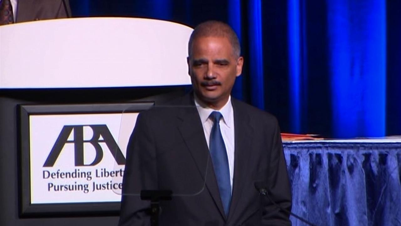 U.S. Attorney General Eric Holder speaks at an American Bar Association meeting in San Francisco on Monday, Aug. 12, 2013.