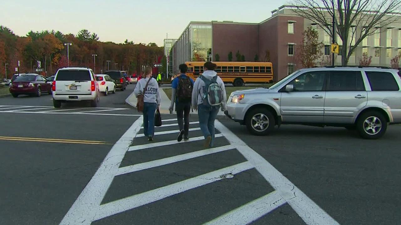 Students at Danvers High School in Massachusetts return to school Friday, Oct. 25, 2013, two days after a popular math teacher was killed.