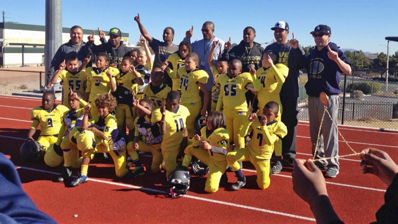 The Santa Monica Vikings Tiny Mites are seen on Saturday, Nov. 30, 2013.