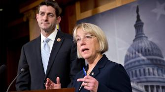 House Budget Committee Chairman Paul Ryan, R-Wis., left, and Senate Budget Committee Chairwoman Patty Murray, D-Wash., announce a tentative agreement between Republican and Democratic negotiators on a government spending plan on Tuesday, Dec. 10, 2013.