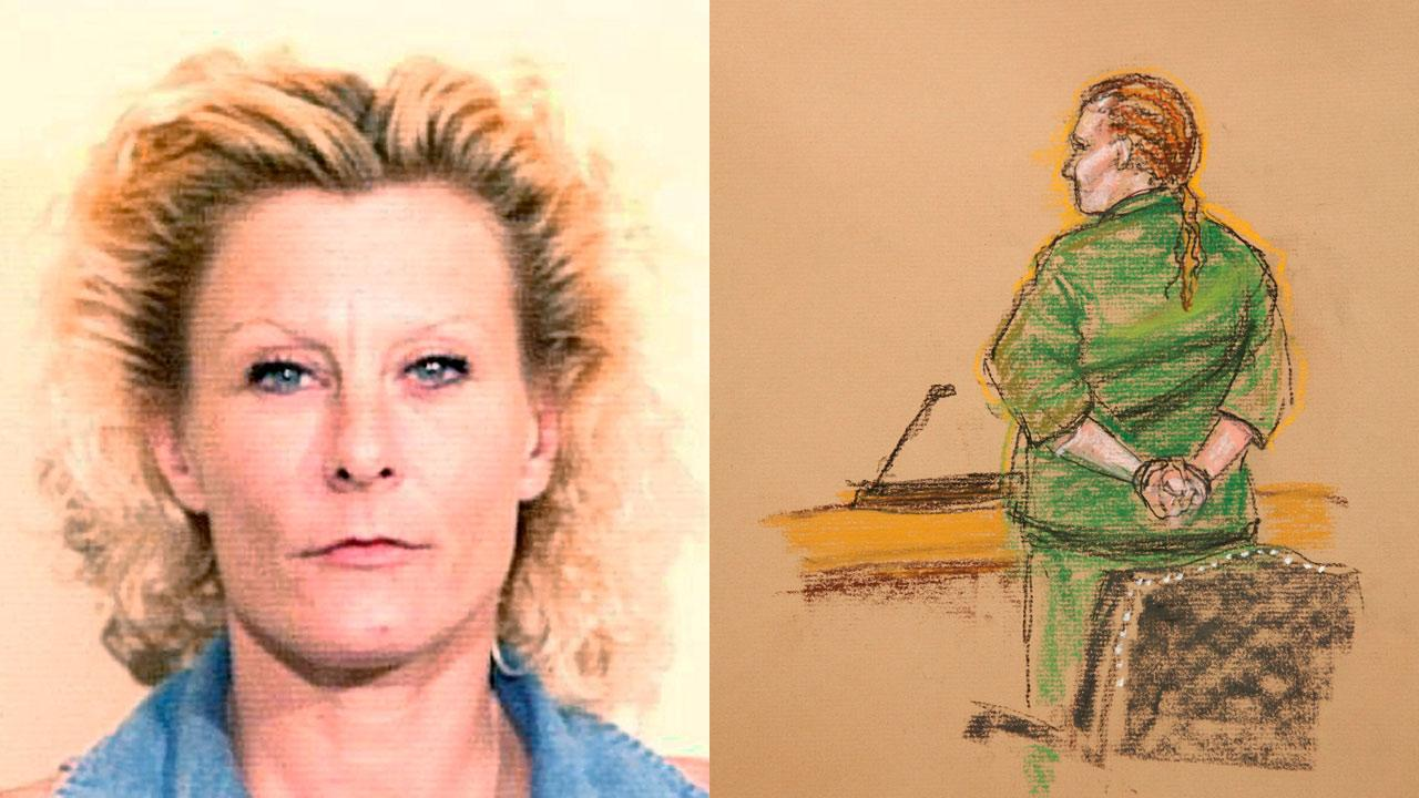 In this photo of a sketch by courtroom artist Janet Hamlin, Colleen LaRose pleaded not guilty before U.S. Magistrate Lynne A. Sitarski at the U.S. Courthouse in Philadelphia, Thursday, March 18, 2010.