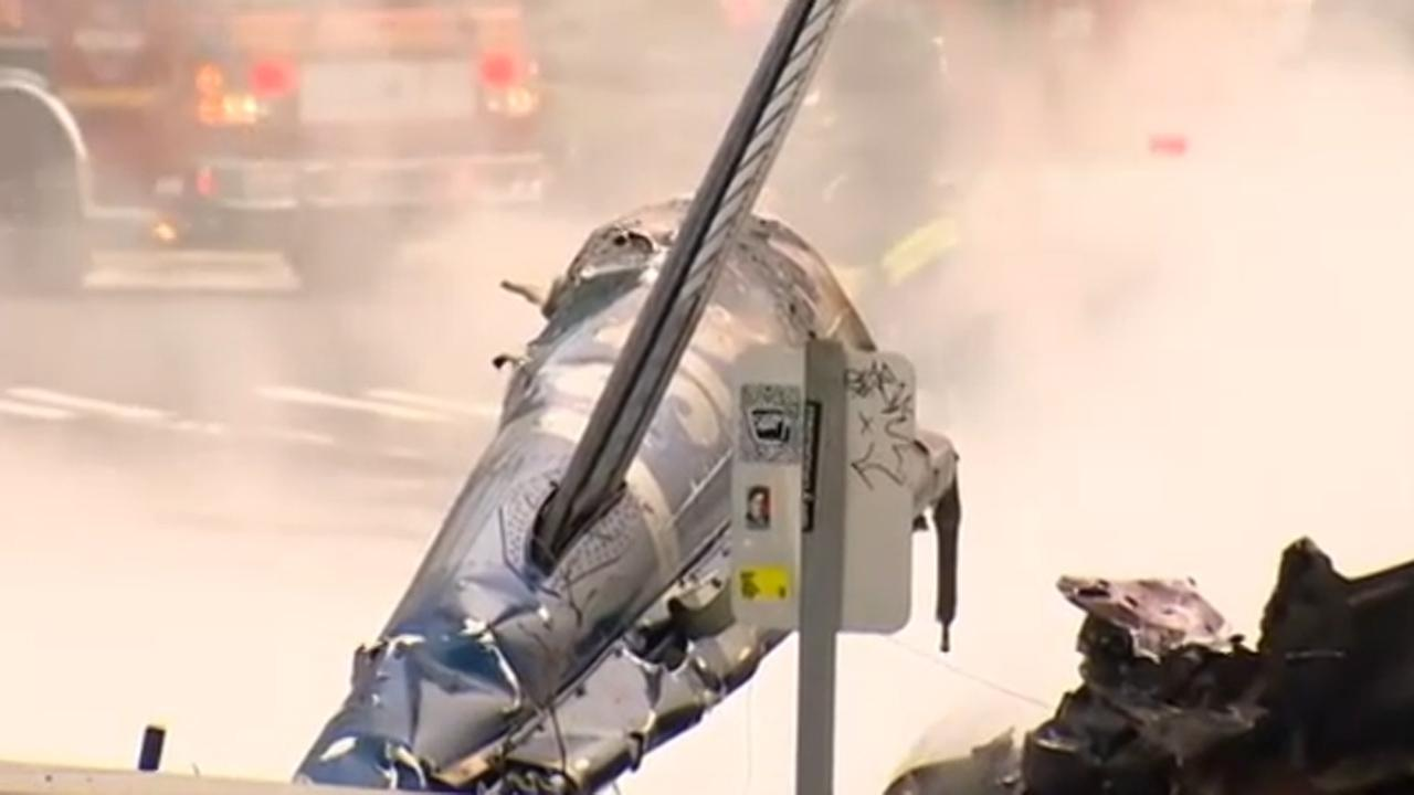A KOMO-TV news helicopter crashed just after liftoff from the Seattle stations roof and erupted in flames on Tuesday, March 18, 2014.ABC News